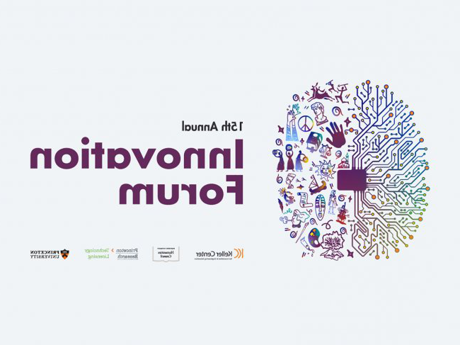 15th Annual Innovation Forum graphic - brain with two hemispheres representing technological and cultural innovations