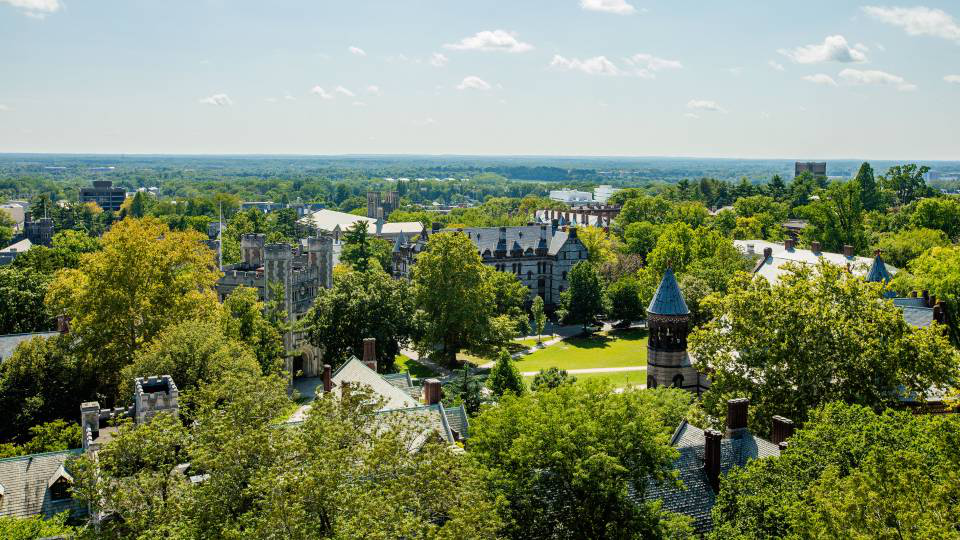Aerial view of campus from Holder Tower