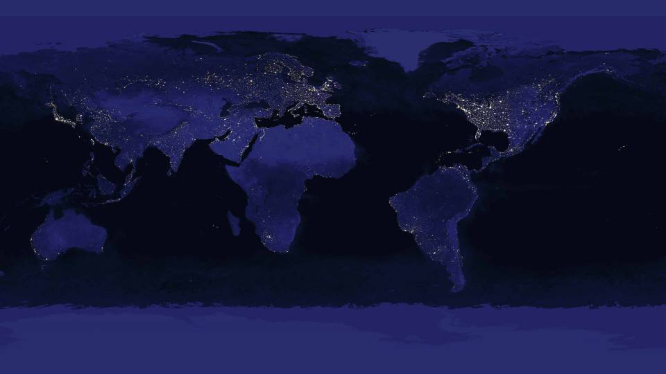 Electric lights turn on around the world