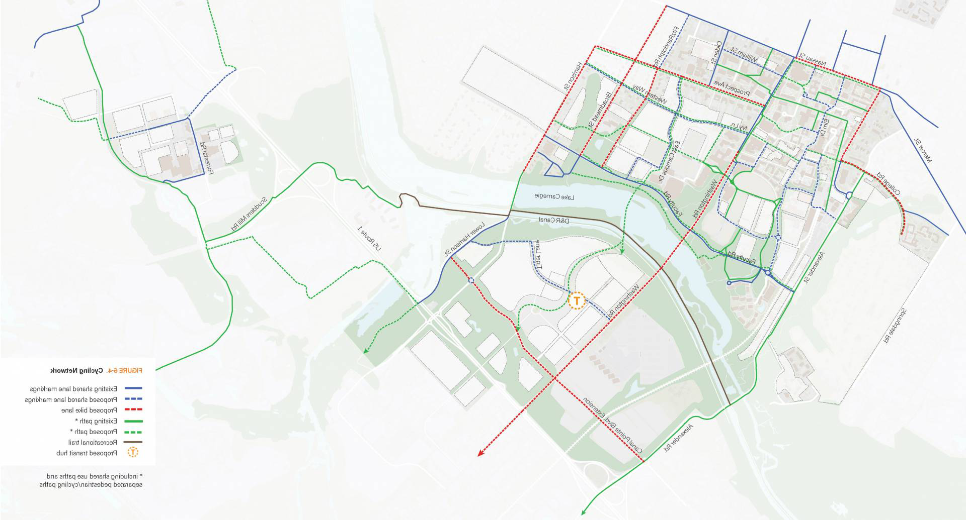 Map of potential cycling network from campus plan