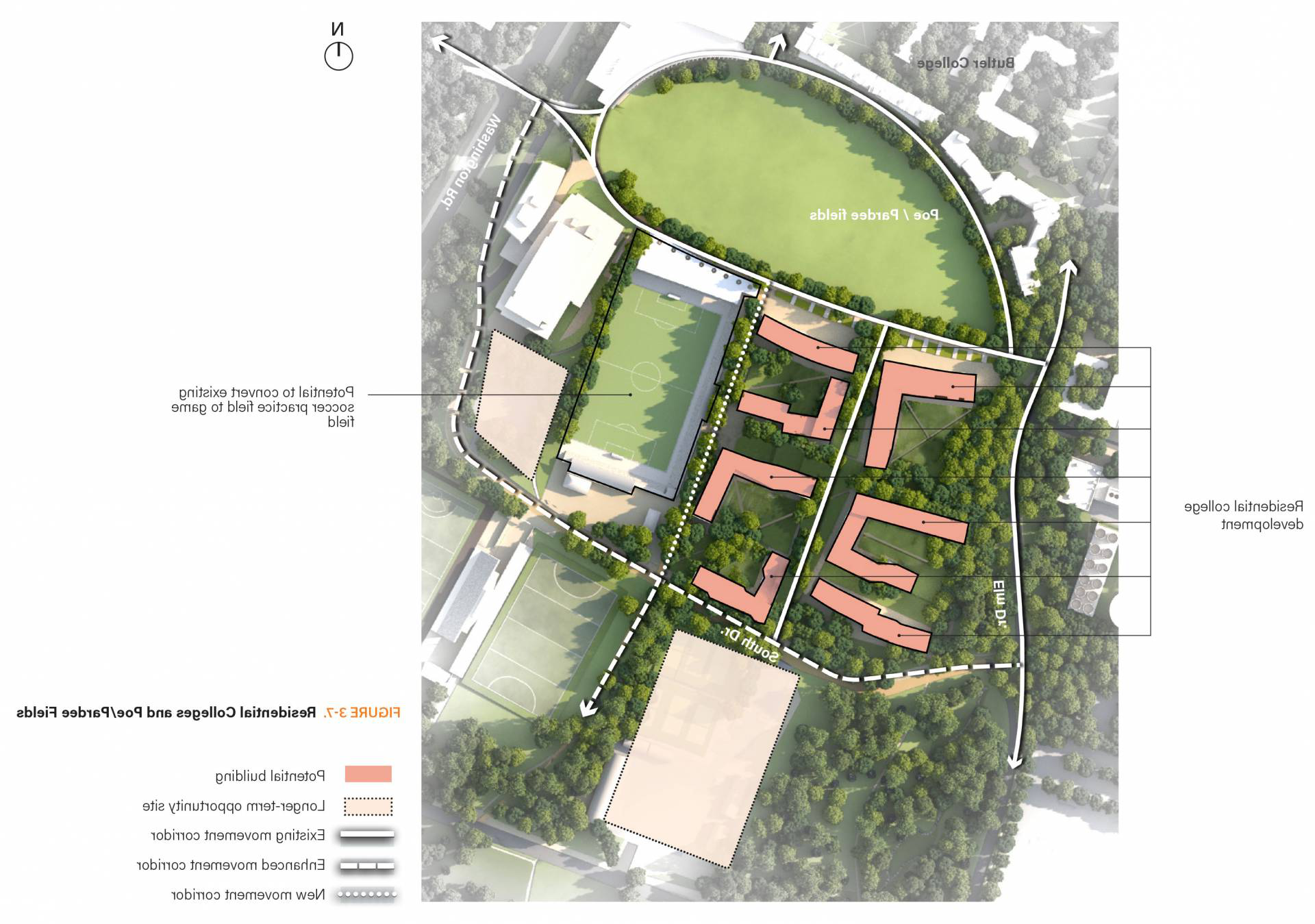 Map of residential colleges and Poe Field from campus plan